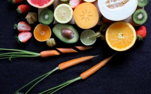 Healthy food cut on table